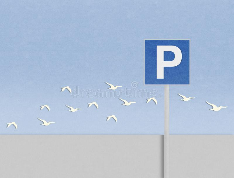 parkować sygnał i ptaki na kartonie royalty ilustracja