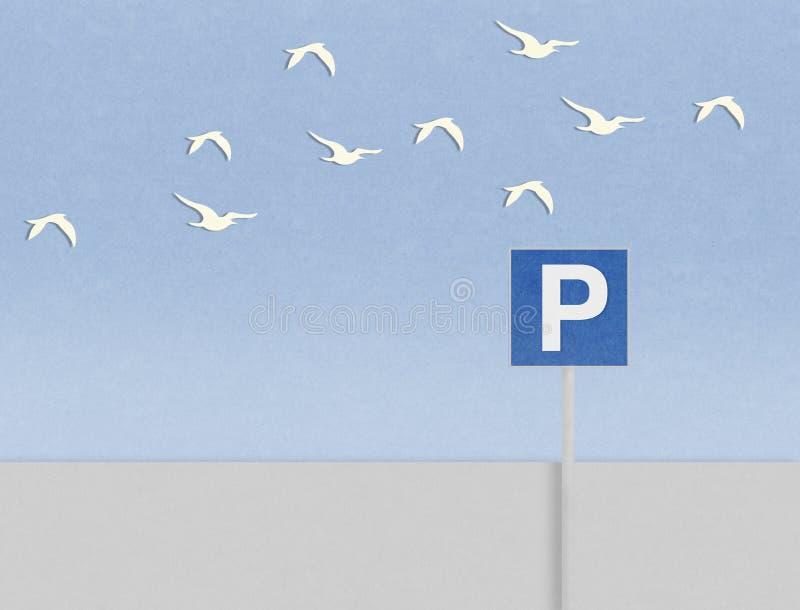 Parkować sygnał i ptaki za plażą ilustracji