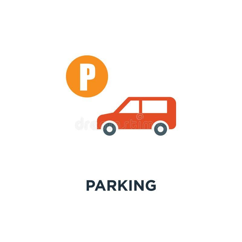 Parkować szyldową ikonę samochodowy parking ruchu drogowego pojęcia symbolu projekt, ve ilustracja wektor