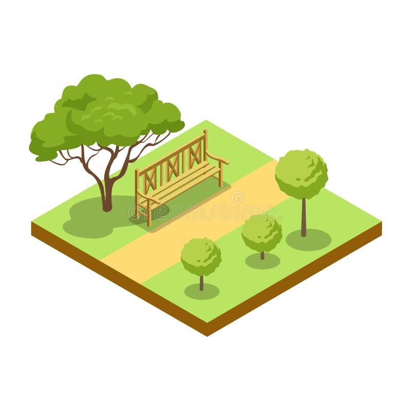 Parkowa aleja z drewnianej ławki isometric 3D ikoną ilustracji