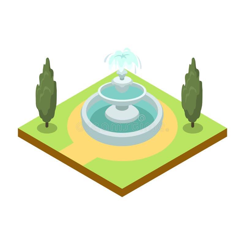 Parkowa aleja z fontanny isometric 3D ikoną ilustracji