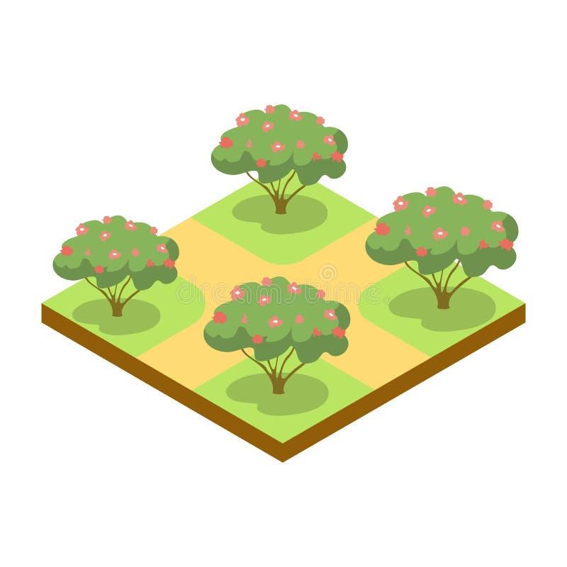 Parkowa aleja z jabłoni isometric 3D ikoną royalty ilustracja