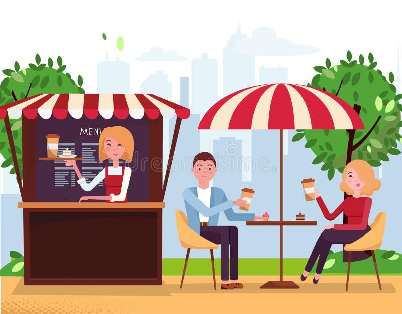 Parkowa kawiarnia z parasol i markizą Para na weekend dacie Ludzie Piją Coffe z tortami w Plenerowej Ulicznej kawiarni Park z royalty ilustracja