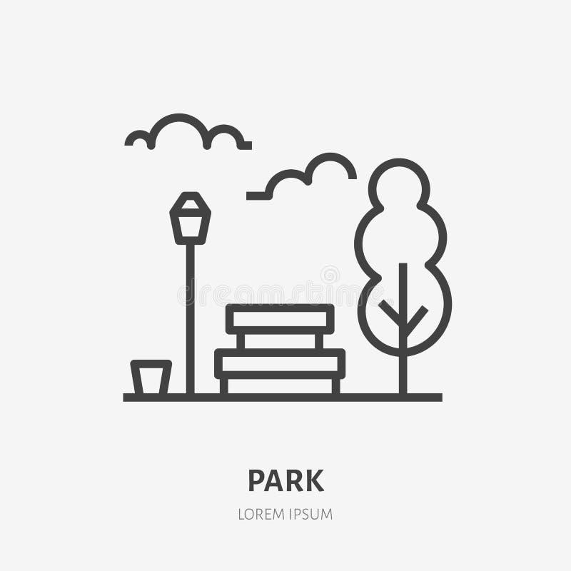 Parkowa mieszkanie linii ikona Wektoru cienki znak ławka, drzewo, niebo i latarnia uliczna, miastowy miejsce publiczne logo Miast royalty ilustracja