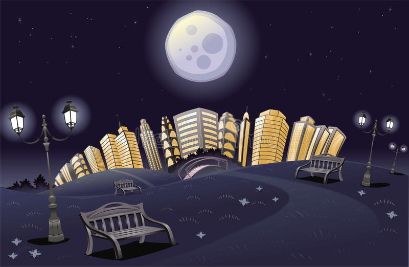 parkowa noc tęcza royalty ilustracja