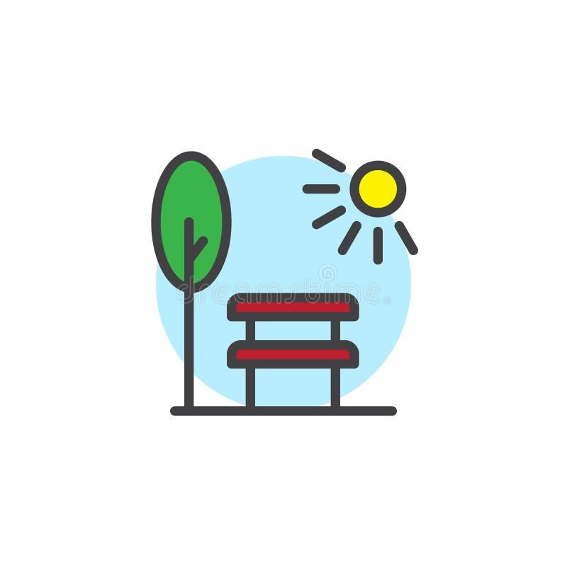 Parkowa scena z ławki drzewem i słońce wypełniający zarysowywamy ikonę royalty ilustracja