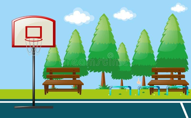 Parkowa scena z boisko do koszykówki ilustracji