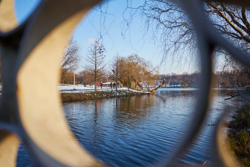 Parkowa widok synklina poręcz most nad jeziorem obrazy royalty free