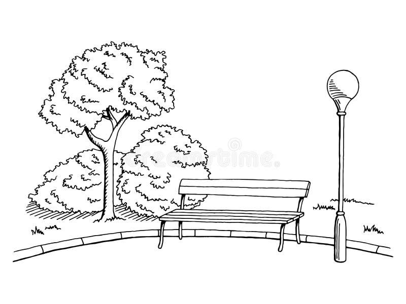 Parkowego graficznej sztuki czerni ławki lampy krajobrazu nakreślenia biała ilustracja ilustracji