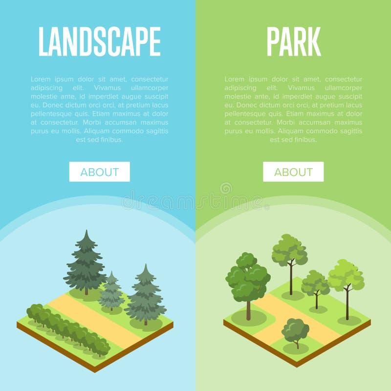 Parkowego krajobrazowego projekta isometric plakaty ilustracji