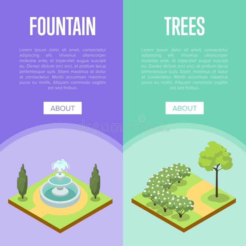 Parkowego krajobrazowego projekta isometric plakaty royalty ilustracja