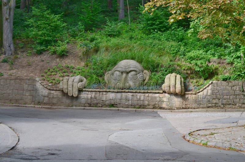 Parkowej духа статуи окровавленное, парк курорта, Kudowa Zdroj стоковые изображения rf