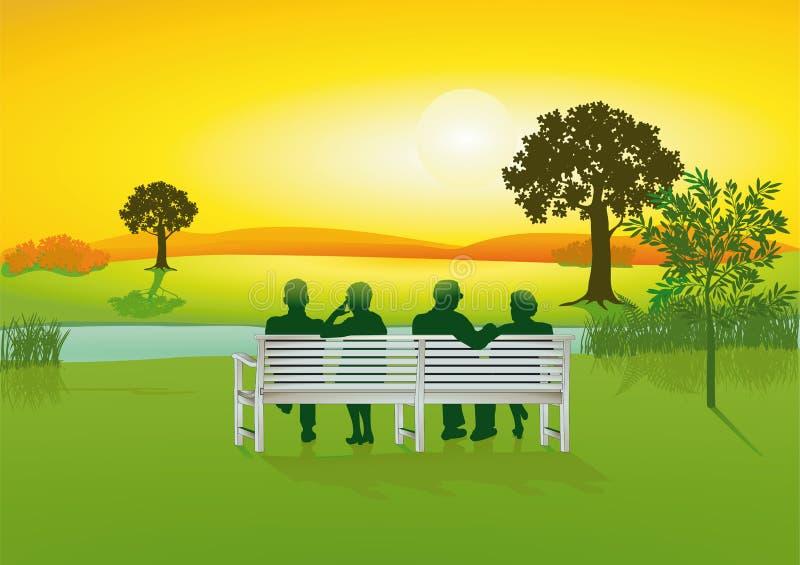 parkowi ławka seniory ilustracja wektor