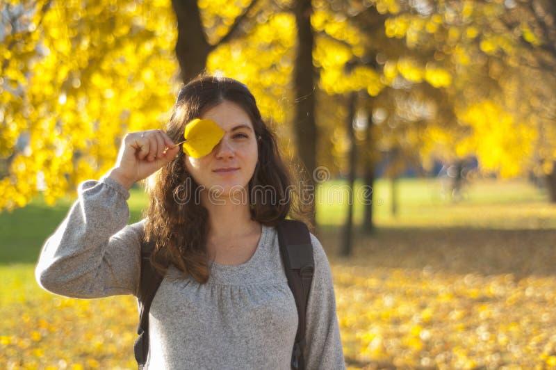 parkowi jesień kobieta w ciąży obraz stock