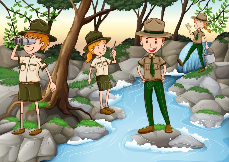 Parkowi leśniczowie pracuje w lesie royalty ilustracja