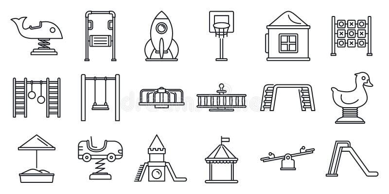 Parkowy dzieciaka boiska ikony set, konturu styl royalty ilustracja