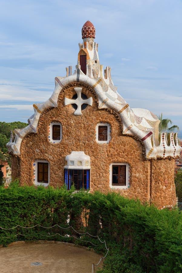 Parkowy Guell, piernikowy dom, Barcelona zdjęcia stock
