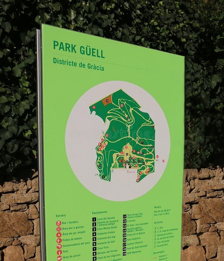Parkowy Guell Podpisuje Wewnątrz Barcelona fotografia stock