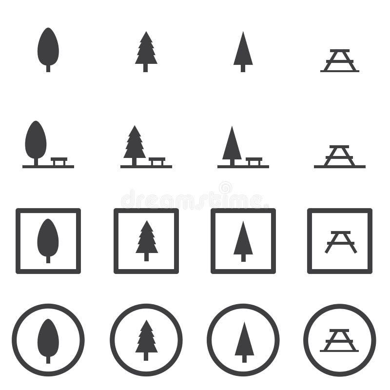 Parkowy ikona set, wektorowego illustion projekta płaski styl ilustracja wektor