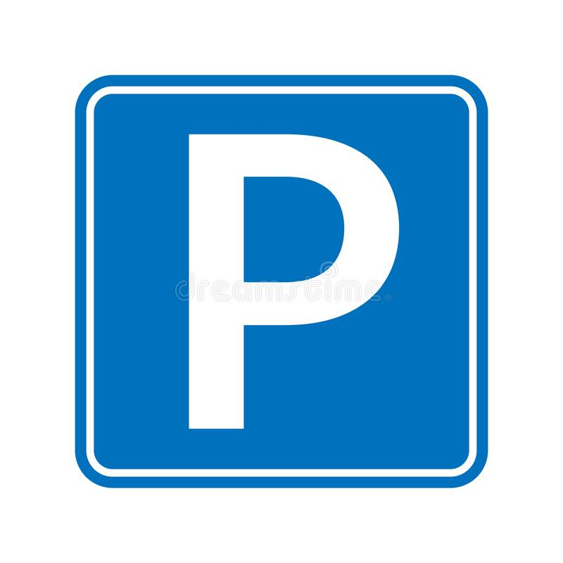 Parkowy ikona znak, drogowy symbol Parking jawnej ikony uliczny miejsce ilustracja wektor