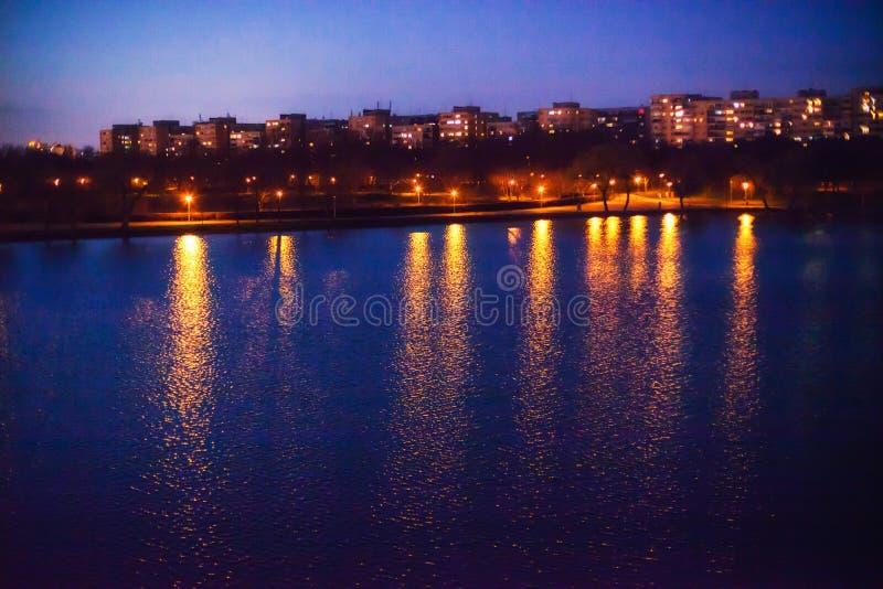 Parkowy jezioro przy nocą fotografia royalty free