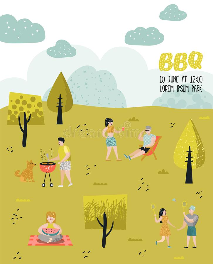 Parkowy krajobraz z Aktywnymi ludźmi na BBQ przyjęciu Przyjaciele na lato grillu i grillu Grilla plakat, sztandar royalty ilustracja