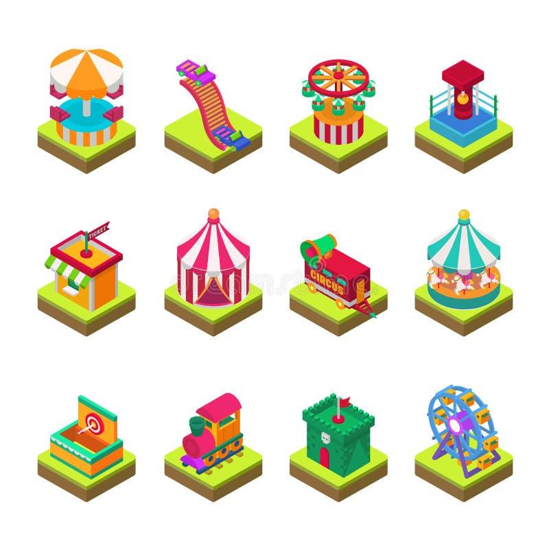 Parkowy rozrywkowy przyciąganie park z carousels żartuje plenerowej rozrywki budowy wektorową ilustracyjną isometric grę royalty ilustracja