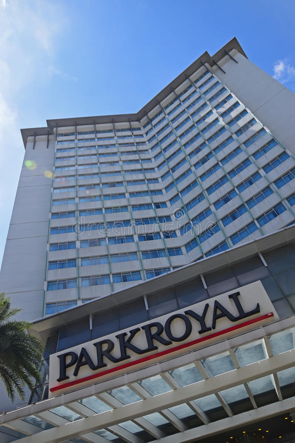 Parkroyal Hotel Building in Singapore at Kitchener Road managed by Pan Pacific Hotels Group royalty free stock image