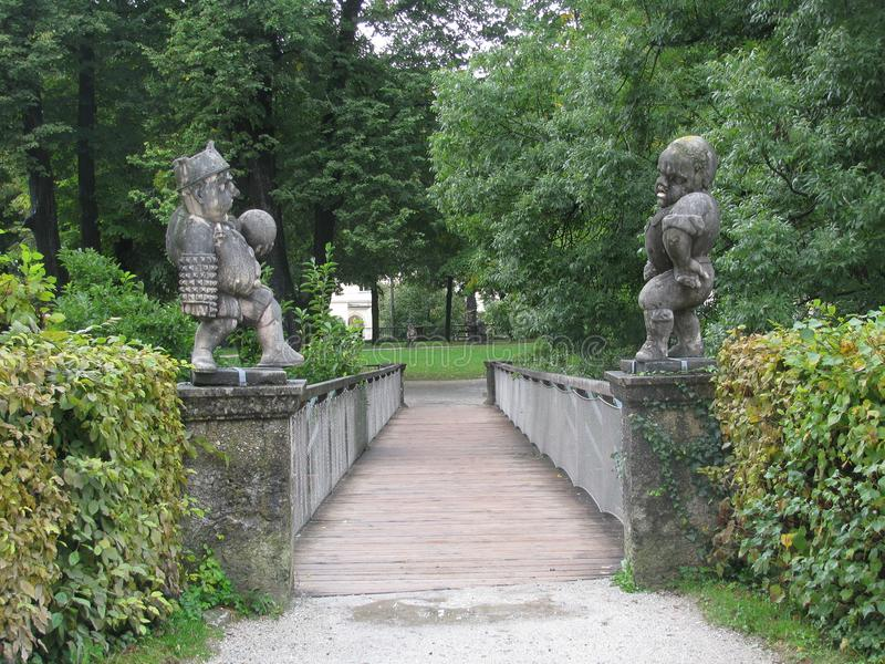 Parks in Salzburg adorn fairy gnomes. stock photography