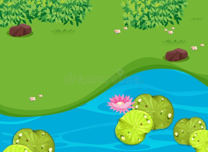Parkscène met lotusbloem en waterlily stock illustratie