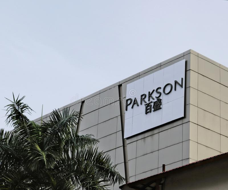 Parkson Advertising Signboard. An advertising Parkson signboard at the Ipoh Parade shopping mall, Ipoh, Malaysia royalty free stock photography