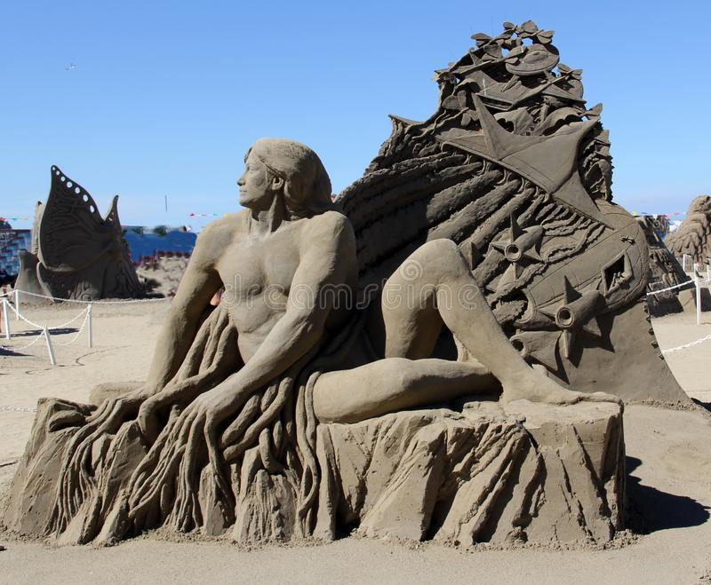 Sand Sculpture, Parksville, BC. Parksville is a city on Vancouver Island, in British Columbia, Canada. Beautiful beaches covered with driftwood, sea shells and royalty free stock photos