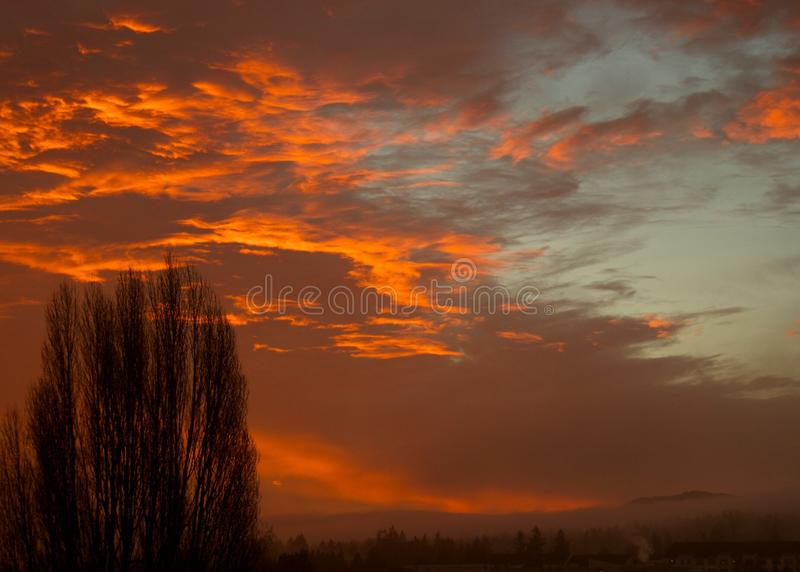 Parksville sunrise. Looks like another great day from the sunrise over Parksville, Vancouver island British Columbia, Canada stock images
