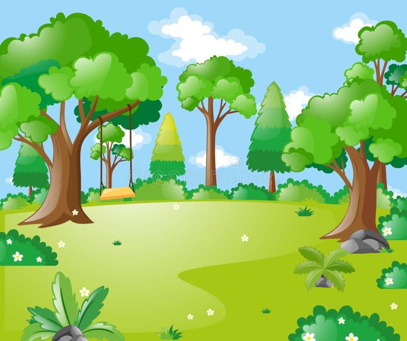 Parkszene mit vielen Bäumen und Schwingen lizenzfreie abbildung