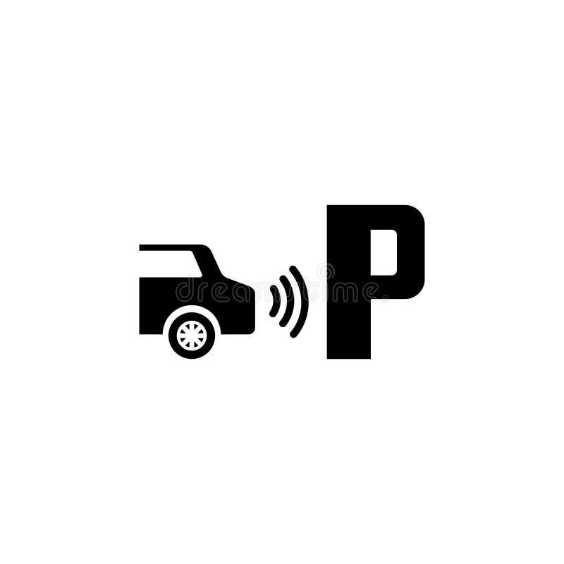 Parktronic czujnik Parkować asysty Płaską Wektorową ikonę royalty ilustracja