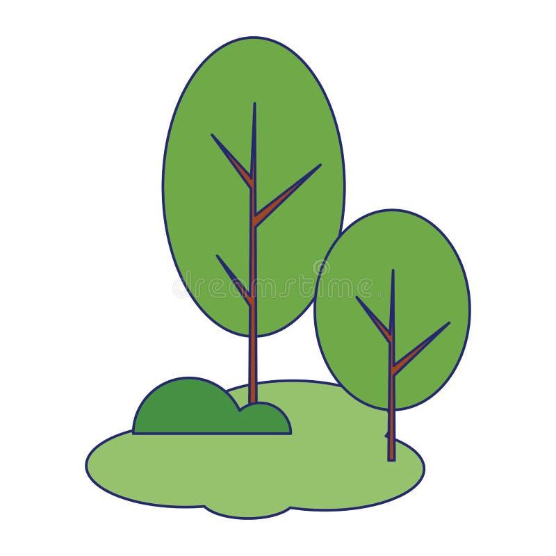 Parkuje z drzewami krzaki i traw sceneria odizolowywać niebieskimi liniami royalty ilustracja