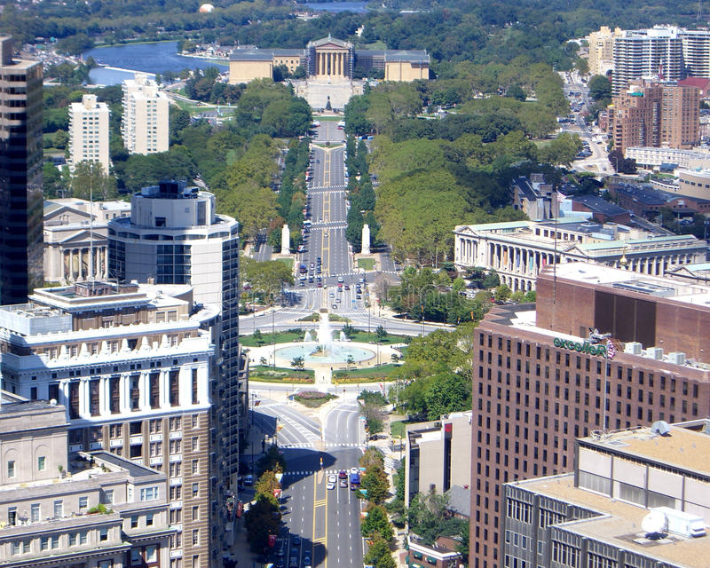 Parkway. Philadelphia's Fairmount Park, the largest city park in the United States. Ben Franklin Parkway, the gateway to the park is in the center, leading to royalty free stock images