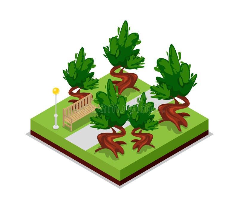 Parkweg en bank isometrisch 3D pictogram vector illustratie