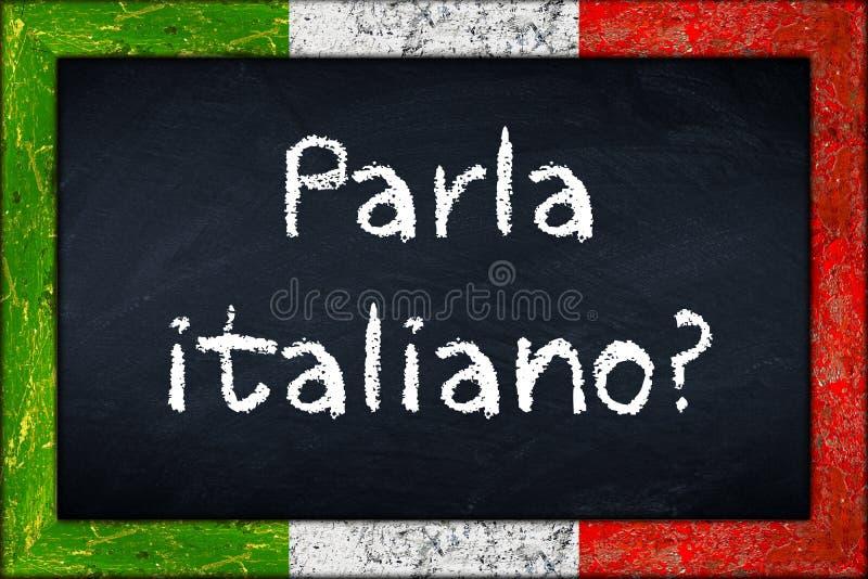 Parla italianosvart tavla med den Italien flaggaramen royaltyfria bilder