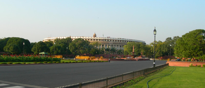 Parlamentów budynków kompleks w New Delhi, India zdjęcie royalty free
