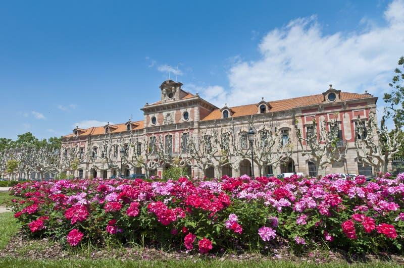Parlament av Catalonia byggnad i Barcelona, Spanien royaltyfria foton
