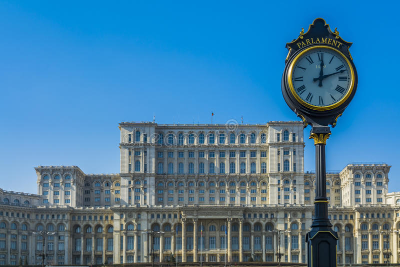 Parlamentsgebäude in Bukarest Rumänien rief auch Casa Poporulu an lizenzfreie stockbilder