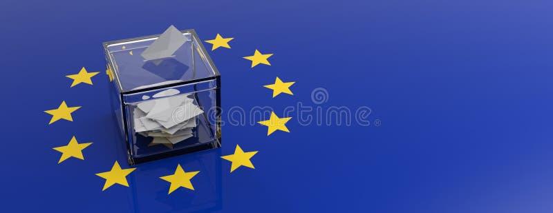 Parlamentswahl der Europäischen Gemeinschaft Abstimmungskasten auf EU-Flaggenhintergrund Abbildung 3D lizenzfreie abbildung