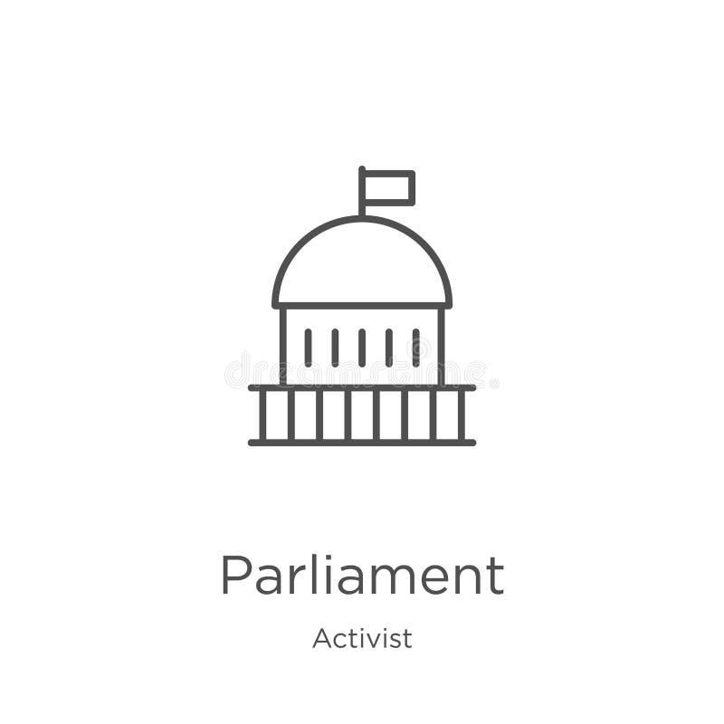 parlamentsymbolsvektor från aktivistsamling Tunn linje illustration för vektor för parlamentöversiktssymbol ?versikt tunn linje vektor illustrationer