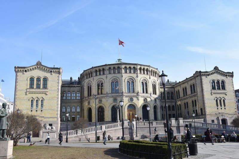 Parlamentu budynek, siedzenie Norweski zgromadzenie narodowe od 1866 zdjęcia stock