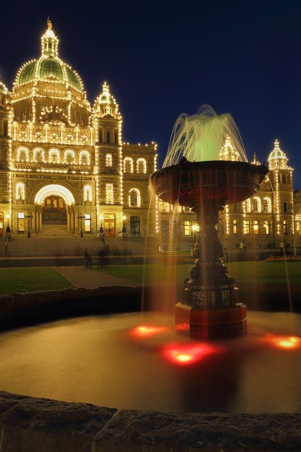 Parlamentu budynku noc, Wiktoria, BC obraz royalty free