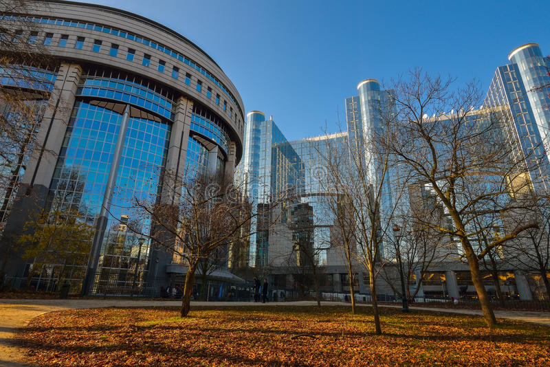 PARLAMENTU EUROPEJSKIEGO budynek w Bruksela Bruksela BELGIA, GRUDZIEŃ - 05 2016 - zdjęcie royalty free