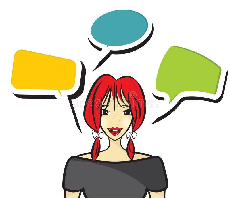 Parlare della donna illustrazione vettoriale