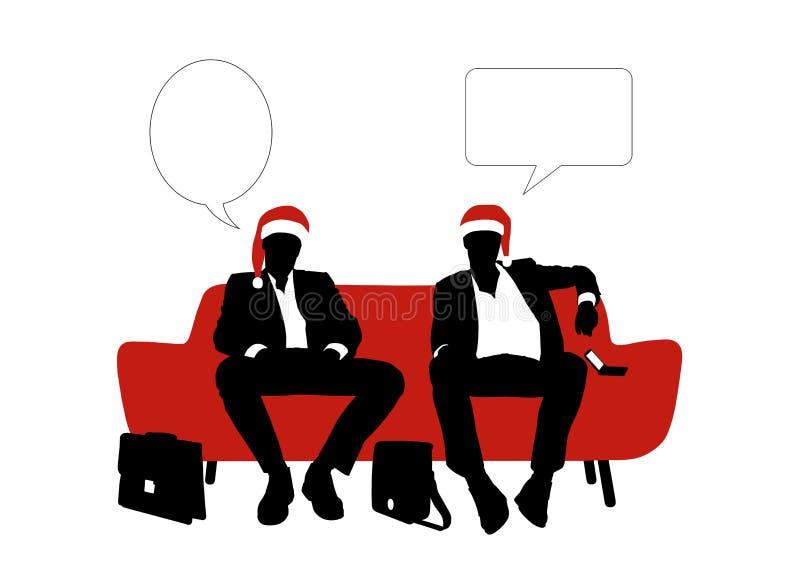 Parlare di due uomini d'affari messo su un sofà in cappelli rossi di natale royalty illustrazione gratis