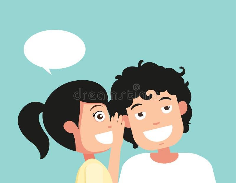 Parlare ed ascoltare, sentire e bisbiglio, vettore illustrazione di stock
